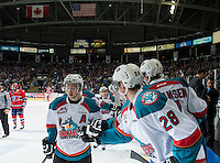 KELOWNA, CANADA - MARCH 7: Colten Martin #8 of Kelowna Rockets celebrates a goal against the Spokane Chiefs on March 7, 2015 at Prospera Place in Kelowna, British Columbia, Canada.  (Photo by Marissa Baecker/Shoot the Breeze)  *** Local Caption *** Colten Martin;