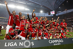 May 13, 2017 - Lisbon, Portugal - Benfica's players celebrate after winning their 36th title at the end of the Portuguese Premier League 2016/17  football match between SL Benfica vs Vitoria Guimaraes SC at the Luz stadium in Lisbon on May 13, 2017. (Credit Image: © Carlos Palma/NurPhoto via ZUMA Press)