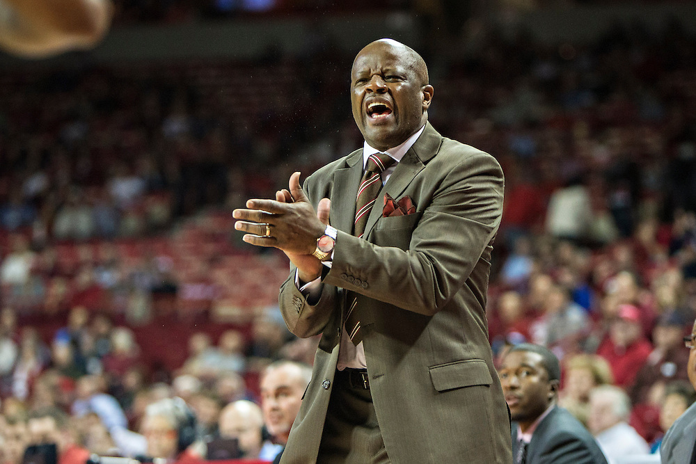 FAYETTEVILLE, AR - DECEMBER 3: Head Coach Mike Anderson of the Arkansas Razorbacks reacts to a call during a game against the SE Louisiana Lions at Bud Walton Arena on December 3, 2013 in Fayetteville, Arkansas.  The Razorbacks defeated the Lions 111-65.  (Photo by Wesley Hitt/Getty Images) *** Local Caption *** Mike Anderson