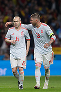 Andres Iniesta and Sergio Ramos of Spain during the International friendly game football match between Spain and Argentina on march 27, 2018 at Wanda Metropolitano Stadium in Madrid, Spain - Photo Rudy / Spain ProSportsImages / DPPI / ProSportsImages / DPPI
