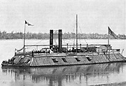 St Louis', James Buchanan Eads' earliest ironclad gunboat employed by Unionist (northern) side in American Civil War 1861-1865. Sunk by torpedo in 1863.  Engraving.
