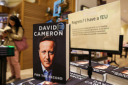 """© Licensed to London News Pictures. 19/09/2019. London, UK. Signed copies of """"For The Record"""" - the autobiography of Britain's former Prime Minister David Cameron on display in Waterstones book store in central London. Since his resignation in 2016, David Cameron has remained all-but silent on his time in office. In """"For the Record"""" he finally breaks that silence. Photo credit: Dinendra Haria/LNP"""