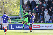 Forest Green Rovers Udoka Godwin-Malife(22) heads the ball clear during the EFL Sky Bet League 2 match between Forest Green Rovers and Exeter City at the New Lawn, Forest Green, United Kingdom on 4 May 2019.