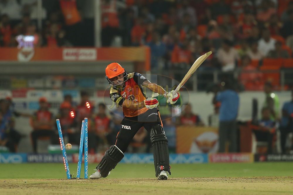 Manish Pandey of the Sunrisers Hyderabad is bowled by Ankit Singh Rajpoot of the Kings XI Punjab during match twenty five of the Vivo Indian Premier League 2018 (IPL 2018) between the Sunrisers Hyderabad and the Kings XI Punjab  held at the Rajiv Gandhi International Cricket Stadium in Hyderabad on the 26th April 2018.<br /> <br /> Photo by: Ron Gaunt /SPORTZPICS for BCCI