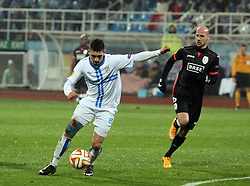 27.11.2014, Stadium Kantrida, Rijeka, CRO, UEFA EL, HNK Rijeka vs FC Standard Liege, Gruppe G, im Bild Vinicius Arauejo, Moises. // during the UEFA Europa Lduring the UEFA Europa League group G match between HNK Rijeka and FC Standard Liege at the Stadium Kantrida in Rijeka, Croatia on 2014/11/27. EXPA Pictures © 2014, PhotoCredit: EXPA/ Pixsell/ Goran Kovacic<br /> <br /> *****ATTENTION - for AUT, SLO, SUI, SWE, ITA, FRA only*****