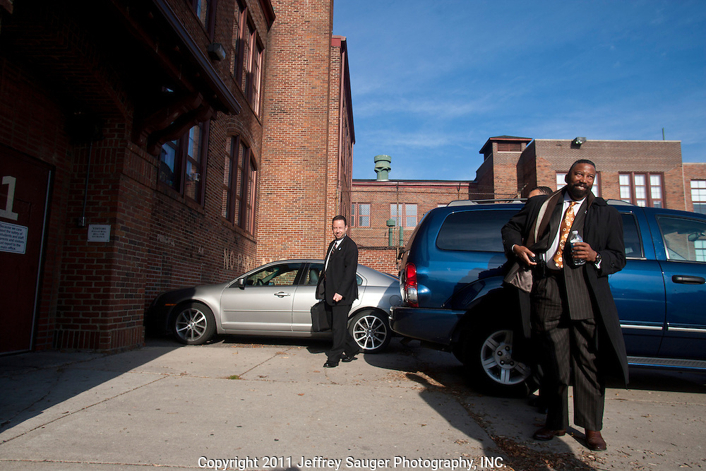 DETROIT, MI - NOVEMBER, 16: Robert C. Bobb, Emergency Financial Manager of the 87,000-student Detroit Public Schools, right, arrives at Thirkell Elementary School, in Detroit, MI, Tuesday, November 16, 2010. (Photo by Jeffrey Sauger)