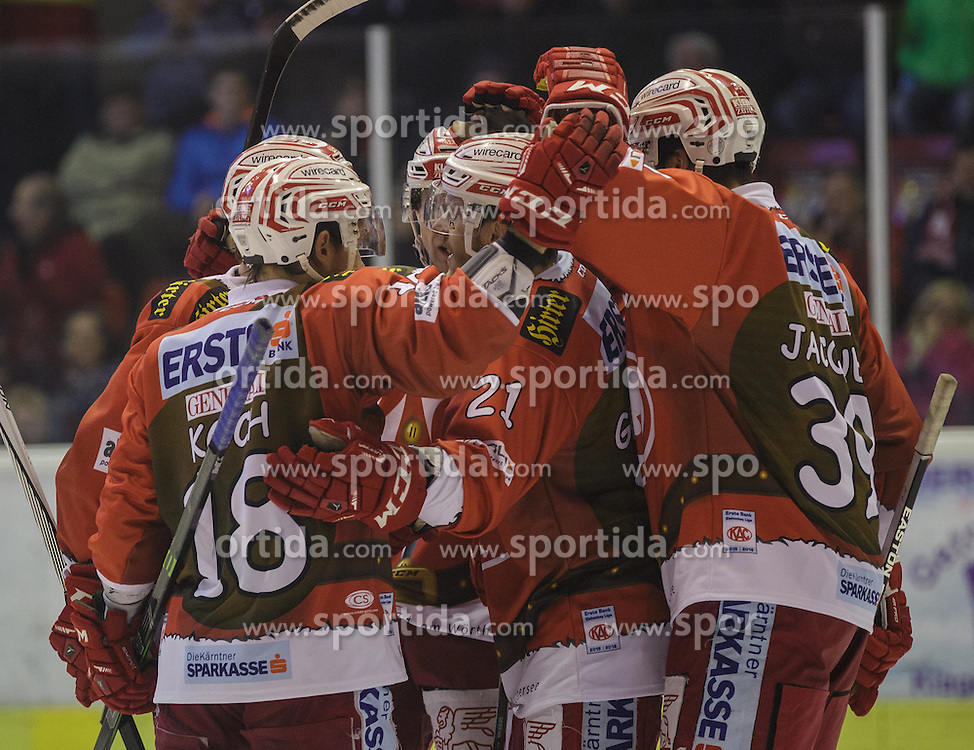 06.12.2015, Stadthalle, Klagenfurt, AUT, EBEL, EC KAC vs HDD TELEMACH Olimpija Ljubljana, 28. Runde, im Bild Jason DeSantis , (EC KAC, #5), Jamie Lundmark (EC KAC, #74), Manuel Geier (EC KAC, #21), Jean-François Jacques (EC KAC, #39), Thomas Koch (EC KAC, #18) // during the Erste Bank Eishockey League 28th round match match betweeen EC KAC and HDD TELEMACH Olimpija Ljubljana at the City Hall in Klagenfurt, Austria on 2015/12/06. EXPA Pictures © 2015, PhotoCredit: EXPA/ Gert Steinthaler