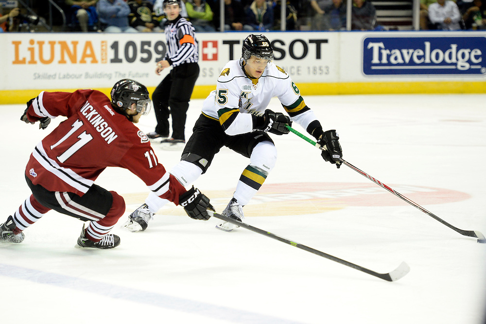 Action from Game 6 of the MasterCard Memorial Cup between the Guelph Storm and London Knights on Wednesday May 21, 2014. The Storm defeated the Knights 7-2. Photo by Aaron Bell/CHL Images