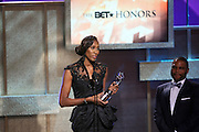 January 12, 2013- Washington, D.C- Former Professional WBA Player/Team Owner Lisa Leslie (Honoree) receives her award at the 2013 BET Honors held at the Warner Theater on January 12, 2013 in Washington, DC. BET Honors is a night celebrating distinguished African Americans performing at exceptional levels in the areas of music, literature, entertainment, media service and education. (Terrence Jennings)