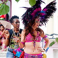 London, UK - 27 August 2012: make-up and costume preparations before the parade at the annual Notting Hill Carnival.