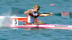 KATRIN WAGNER - AUGUSTIN (GERMANY) COMPETES IN WOMEN'S K1 RELAY 200 METERS QUALIFICATION RACE DURING 2010 ICF KAYAK SPRINT WORLD CHAMPIONSHIPS ON MALTA LAKE IN POZNAN, POLAND...POLAND , POZNAN , AUGUST 22, 2010..( PHOTO BY ADAM NURKIEWICZ / MEDIASPORT ).