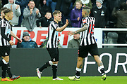 Matt Ritchie (#11) of Newcastle United celebrates Newcastle United's third goal (3-0) with Kenedy (#15) of Newcastle United during the Premier League match between Newcastle United and Southampton at St. James's Park, Newcastle, England on 10 March 2018. Picture by Craig Doyle.