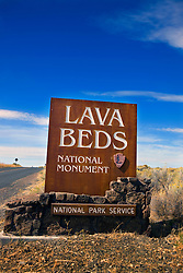National Park Service welcome sign to Lava Beds National Monument, California