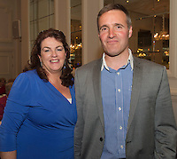 "Darine and Vincent Jennings  at the launch of  Ronan Scully's new book ""Time Out"" An Innovative collaboration of words, reflections and stories of goodness, tenderness and positivity for all our lives combine to great effect in this new publication published by Ballpoint Press in aid of Self Help Africa and `The Irish Guide dogs for the Blind  at Hotel Meyrick in Galway. Picture:Andrew Downes"