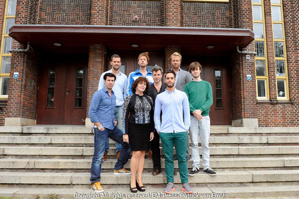 Perspresentatie van het toneelstuk The Normal Heart in het Zonnehuis in Amsterdam.<br /> <br /> Op de foto:  Oren Schrijver, Kevin Hassing, Jelle de Jong, Henriette Tol, Frederik Brom, Freek Bartels, Thijs Romer en Daniel Cornelissen
