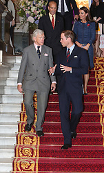 © Licensed to London News Pictures. 26/04/2012.  Prince William, The Duke of Cambridge with Sir John Kiszley KCB MC DL walk down the stairs of Goldsmiths Hall after attending and Royal British Legion recpetion in Central London today.   Photo credit: Alison Baskerville/LNP