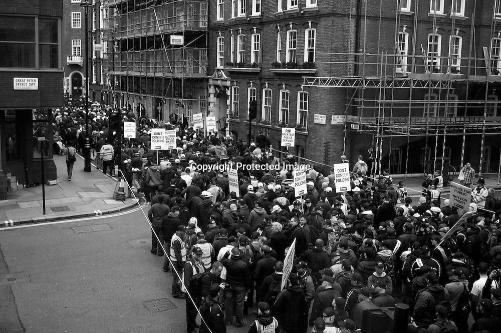 Demonstrators heading for Westminster in protese