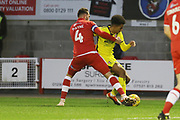 Josh Payne and Jacob Maddox  during the EFL Sky Bet League 2 match between Crawley Town and Cheltenham Town at the Broadfield Stadium, Crawley, England on 5 January 2019.