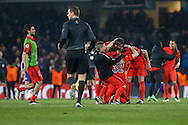 David Luiz of Paris Saint-Germain (32) celebrates at the final whistle during the UEFA Champions League match at Stamford Bridge, London<br /> Picture by David Horn/Focus Images Ltd +44 7545 970036<br /> 11/03/2015