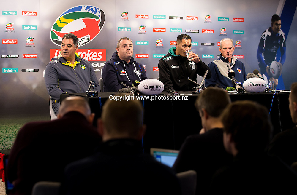 Rugby League - 2016 Ladbrokes Four Nations Launch - Anfield, Liverpool, England - (from left) Australia head coach Mal Meninga, Scotland head coach Steve McCormack, New Zealand head coach David Kidwell and England head coach Wayne Bennett during the pre-competition press conference at the competition launch at Anfield., 24 October 2016, Picture by Alex Whitehead/SWpix / www.photosport.nz