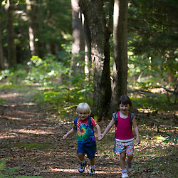 A young brother and sister go hiking in North Hampton, New Hampshire.  Near the headwaters of the Winnicut River.