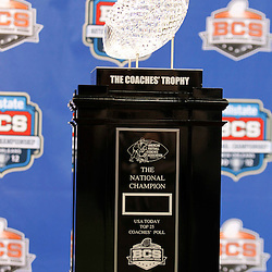 January 6, 2012; New Orleans, LA, USA; A detail The Coaches Trophy during Media Day for the 2012 BCS National Championship game to be played on January 9, 2012 between the LSU Tigers and the Alabama Crimson Tide at the Mercedes-Benz Superdome.  Mandatory Credit: Derick E. Hingle-US PRESSWIRE