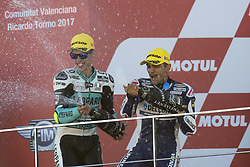 November 12, 2017 - Valencia, Valencia, Spain - 36 Joan Mir (Spa) Leopard Racing Honda,  #88 Jorge Martin (Spa) Del Conca Gresini Moto3 Honda during the race day of the Gran Premio Motul de la Comunitat Valenciana, Circuit of Ricardo Tormo,Valencia, Spain. Sunday 12th of november 2017. (Credit Image: © Jose Breton/NurPhoto via ZUMA Press)
