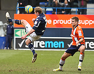 Picture by David Horn/Focus Images Ltd +44 7545 970036.16/02/2013.Janos Kovacs of Luton Town watches as Rob Hulse of Millwall goes close with an overhead kick during the The FA Cup match at Kenilworth Road, Luton.
