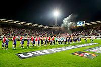 ALKMAAR - 20-10-2016, AZ - Maccabi Tel Aviv, AFAS Stadion, 1-2, opkomst, rook, vuurwerk