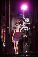 Young woman backstage