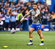 Cardiff Blues' Willis Halaholo during the pre match warm up<br /> <br /> Photographer Craig Thomas/Replay Images<br /> <br /> European Rugby Challenge Cup Round Semi final - Cardiff Blues v Pau - Saturday 21st April 2018 - Cardiff Arms Park - Cardiff<br /> <br /> World Copyright © Replay Images . All rights reserved. info@replayimages.co.uk - http://replayimages.co.uk