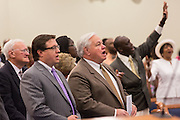 North Charleston Mayor Keith Summey during a healing service at Charity Missionary Baptist Church April 12, 2015 in North Charleston, South Carolina. Sharpton spoke following the recent fatal shooting of unarmed motorist Walter Scott police and thanked the Mayor and Police Chief for doing the right thing in charging the officer with murder.