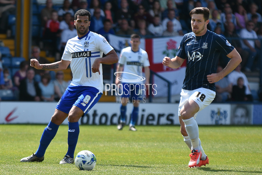 Bury Midfielder, Jacob Mellis on the ball  during the Sky Bet League 1 match between Bury and Southend United at the JD Stadium, Bury, England on 8 May 2016. Photo by Mark Pollitt.