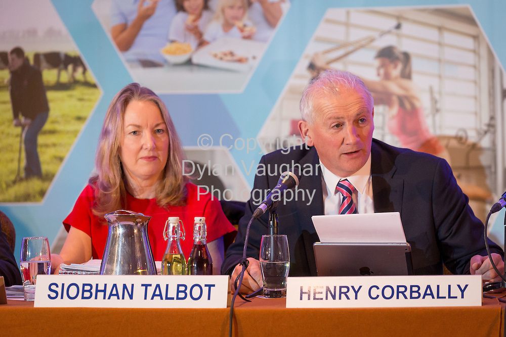 Repro Free No Charge for Repro<br /> <br /> 27/5/16<br /> Pictured at the Glanbia PLC AGM at the Lyrath Estate Hotel in Kilkenny was from left Siobhan Talbot, Group Managing Director and Henry Corbally, Group Chairman.<br /> Picture Dylan Vaughan.