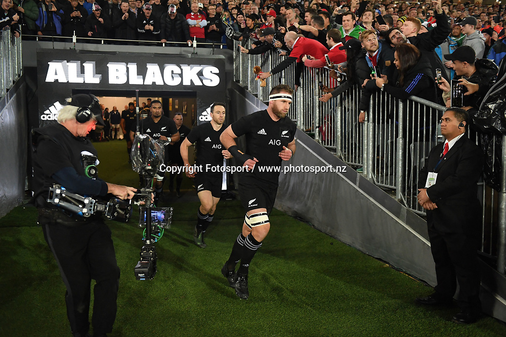 Kieran Read - New Zealand captain leads the All Blacks out.<br /> New Zealand v British &amp; Irish Lions, 1st Test, Eden Park, Auckland, New Zealand, Saturday 24th June 2017<br /> ***Please credit: Fotosport/David Gibson***