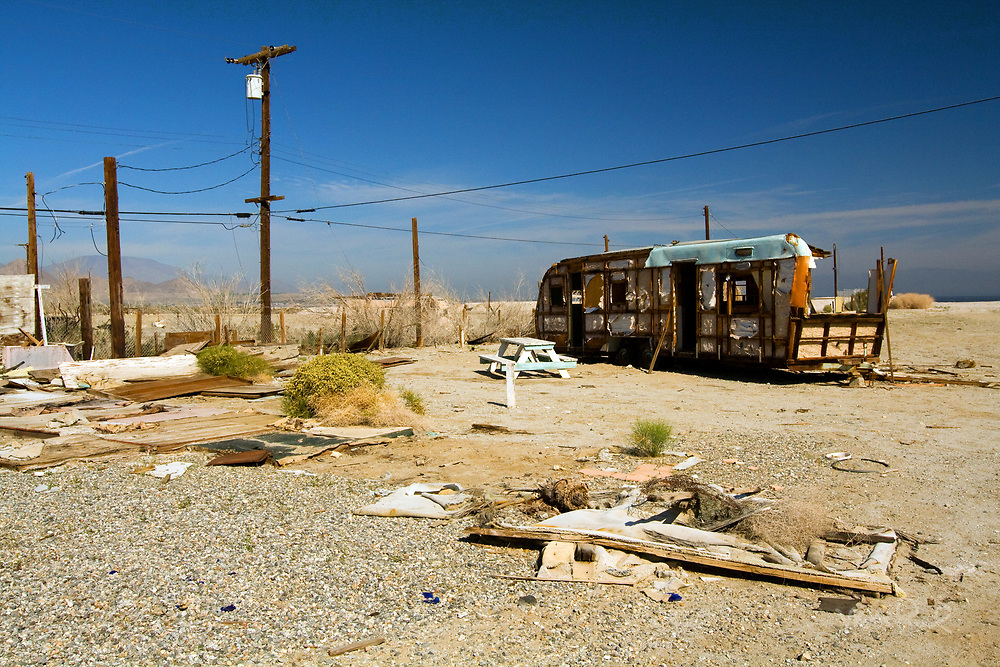 The Salton Sea is an interesting place and has an interesting history. The Salton Sea was created by a flood in 1905, in which water from the Colorado River flowed into the area. Resorts and golf courses moved in during the 60's and now it's abandoned.