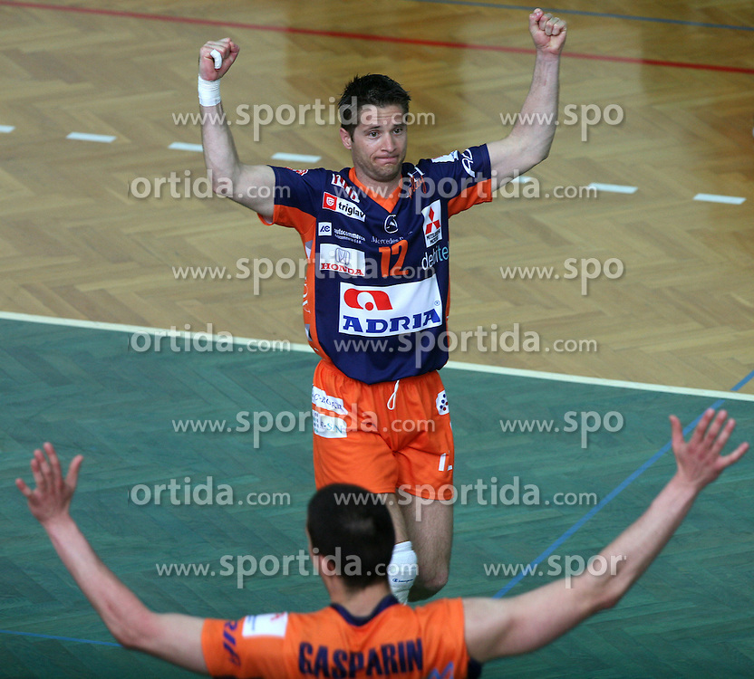 Sebastijan Skorc of ACH Volley celebrating at 4th and final match of Slovenian Voleyball  Championship  between OK Salonit Anhovo (Kanal) and ACH Volley (from Bled), on April 23, 2008, in Kanal, Slovenia. The match was won by ACH Volley (3:1) and it became Slovenian Championship Winner. (Photo by Vid Ponikvar / Sportal Images)/ Sportida)