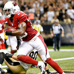 Sep 22, 2013; New Orleans, LA, USA; Arizona Cardinals cornerback Jerraud Powers (25) against the New Orleans Saints during a game at Mercedes-Benz Superdome. The Saints defeated the Cardinals 31-7. Mandatory Credit: Derick E. Hingle-USA TODAY Sports