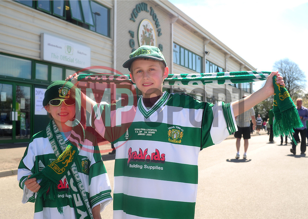 Yeovil Town fans - Photo mandatory by-line: Dougie Allward/JMP - Tel: Mobile: 07966 386802 06/05/2013 - SPORT - FOOTBALL - Huish Park - Yeovil - Yeovil Town V Sheffield United - NPOWER LEAGUE ONE PLAY-OFF SEMI-FINAL SECOND LEG