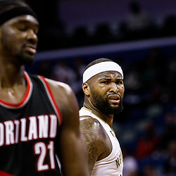 Mar 14, 2017; New Orleans, LA, USA; New Orleans Pelicans forward DeMarcus Cousins (0) reacts after being foul during the first quarter of a game against the Portland Trail Blazers at the Smoothie King Center. Mandatory Credit: Derick E. Hingle-USA TODAY Sports