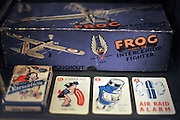 © Licensed to London News Pictures. 04/04/2012. London, UK. games and toys in a cabinet at the exhibition. Photo call and preview for the Imperial War Museum.s new A Family in Wartime exhibition. The exhibition features the life on the Home Front during the Second World War, explored through the eyes of one London based family, the Allpress.. Photo credit : Stephen SImpson/LNP