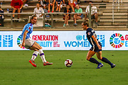 North Carolina Courage forward Kristen Hamilton (23) dribbles the ball against Manchester City midfielder Keira Walsh (24) during an International Champions Cup women's soccer game, Thurday, Aug. 15, 2019, in Cary, NC. The North Carolina Courage defeated Manchester City Women 2-1.  (Brian Villanueva/Image of Sport)