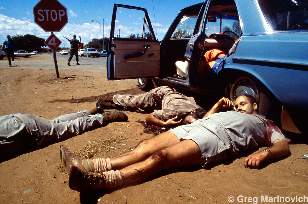 Bophuthutswana South Africa, Franscois Wolfaard and othjer AWB supporters daeda after they were killed by Bophuthatswana soldiers following days of clashes that saw the homeland president Lucas Mangope deposed. 1994.