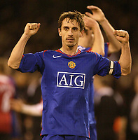 Photo: Aidan Ellis.<br /> Sheffield United v Manchester United. The Barclays Premiership. 18/11/2006.<br /> Manchester's captain Gary Neville celebrates victory