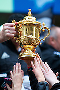 Brad Thorn holds the Webb Ellis Cup out to fans while the New Zealand All Blacks, 2011 Rugby World Cup champions parade through the streets of Wellington. Rain and strong wind wasn't enough to deter Wellington locals from welcoming their heroes.