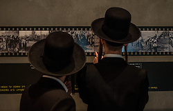 Ultra-orthodox Jewish men visit an exhibition marking the Holocaust Remembrance Day at the Yad Vashem Holocaust Memorial Museum in Jerusalem, on April 16, 2015. From Wednesday sunset to Thursday, Israel officially commemorates the genocide of six million Jews by Nazi Germany during the World War II. EXPA Pictures © 2015, PhotoCredit: EXPA/ Photoshot/ Li Rui<br /> <br /> *****ATTENTION - for AUT, SLO, CRO, SRB, BIH, MAZ only*****