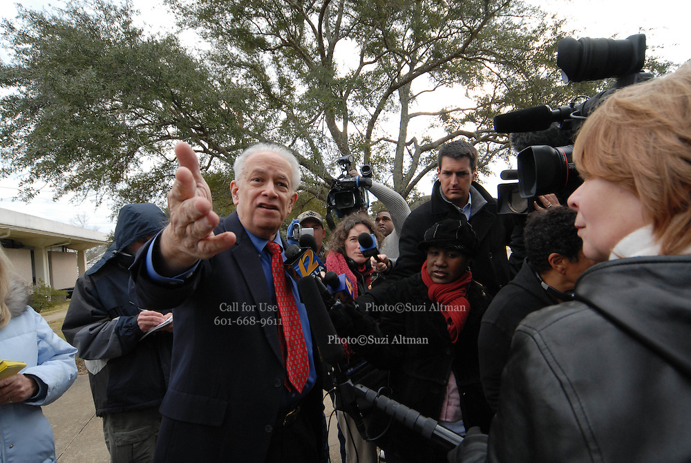 Richard Barrett, leader of The Nationalist Movement, speaks to the media gathered in Jena LA on Martin Luther King Day JAn 21,2008.  A group of protesters march to Jena High School on the Martin Luther King Jr. holiday in Jena, La., Monday, Jan. 21, 2008. The protest was organized by the self-described 'pro-majority' Nationalist Movement of Learned, Mississippi, lead by Richard Barrett, and was being held in opposition to the six black teenagers who were arrested in the beating of a white classmate in December 2006, and the King holiday. The protest drew about 50 participants and 100 counter-demonstrators to Jena.(Photo/© Suzi Altman)