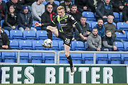 Taylor Moore (Bury) controls the ball in the air during the EFL Sky Bet League 1 match between Oldham Athletic and Bury at Boundary Park, Oldham, England on 11 March 2017. Photo by Mark P Doherty.