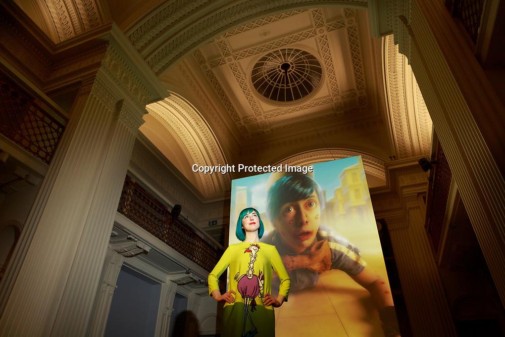 Edinburgh, Scotland 23rd February 2018.  Press call Talbot Rice Gallery display a new exbition UK premiere of Scotland's presentation at last year's Venice Biennale, Spite Your Face.                                                                                                                                        Pako Mera