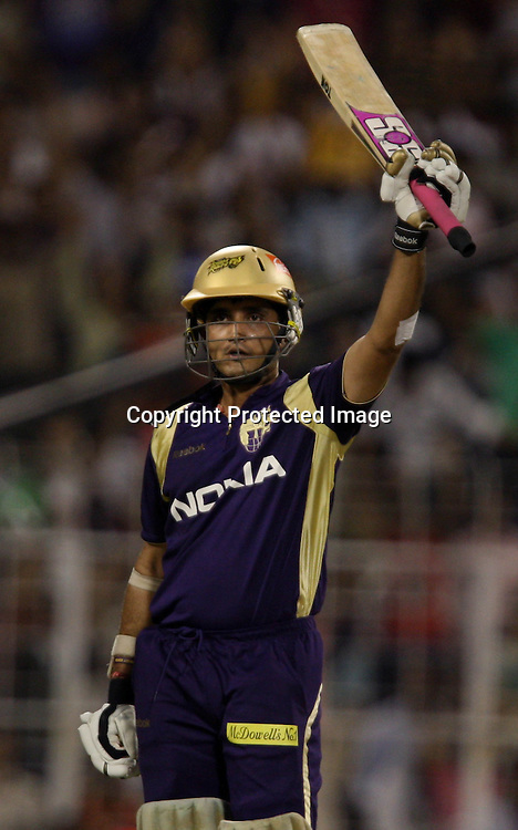 Kolkata Knight Riders Batsman Sourav Ganguly Make Half Century Against Rajasthan Royals During The Kolkata Knight Riders vs Rajasthan Royals  Indian Premier League - 53rd match Twenty20 match | 2009/10 season Played at Eden Gardens, Kolkata 17 April 2010 - day/night (20-over match)